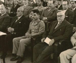 الرئيس سعيد الغزي مع الملك حسين بن طلال والرئيس شكري القوتلي سنة 1956