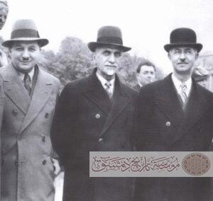 سعد الله الجابري في باريس سنة 1936 مع هاشك الأتاسي ورياض الصلح.
