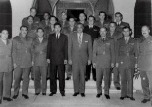 وفد الضباط برئاسة عفيف البزرة مع الرئيس جمال عبد الناصر سنة 1958.
