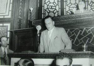 عدنان الأتاسي في مجلس النواب سنة 1950.