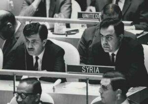الرئيس نور الدين الأتاسي ووزير الخارجية إبراهيم ماخوس في الأمم المتحدة.